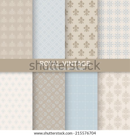 8 seamless patterns royal