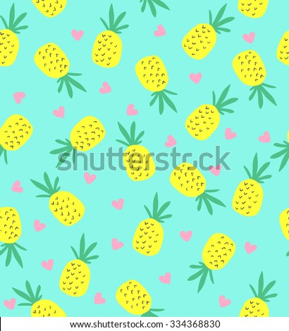 Seamless pineapple pattern. Cute pineapple pattern.