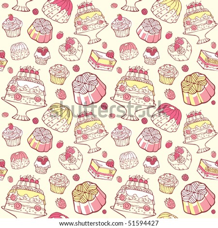 Seamless sweets pattern with cake and fruit in vector