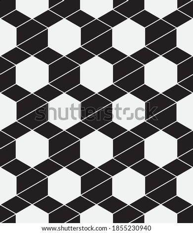Seamless   vector pattern. Abstract geometric hexagonal  background. Monochrome  stylish texture.