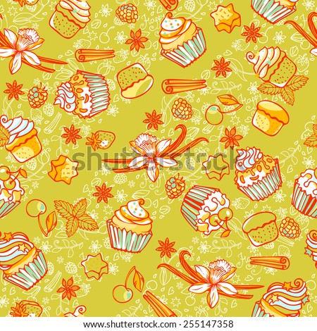 Seamless vector pattern with sweet cupcakes and spices. Can be used for cards, fabrics, wallpapers, scrap-booking, ornamental template for design and decoration.