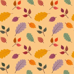 Seamless vector pattern with the image of autumn leaves stylized in a flat style. The colors of the autumn gamut are perfect for scrapbooking paper and as separate design elements.