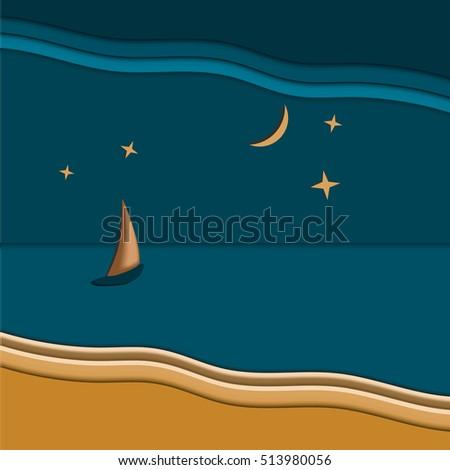 seascape sailboat  night time
