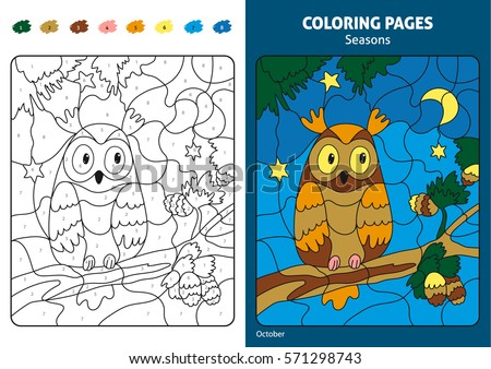 Seasons Coloring Page For KidsPrintable Design Book Puzzle With Numbers Of