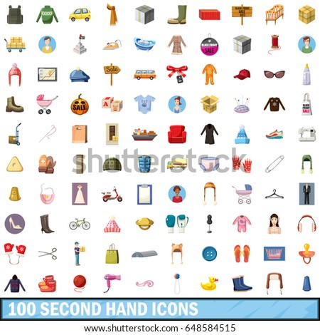 100 second hand icons set in