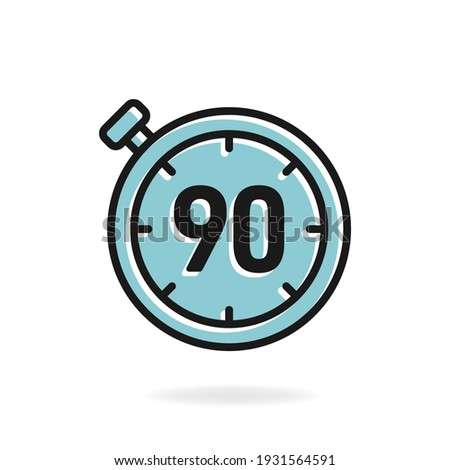 90 second timer clock icon flat design isolated on white background. Vector illustration ストックフォト ©