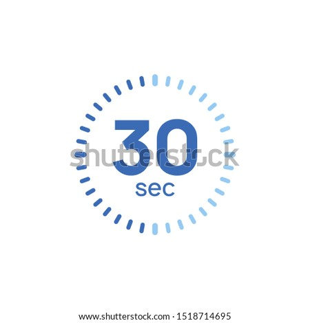 30 second timer clock. 30 sec stopwatch icon countdown time digital stop chronometer.