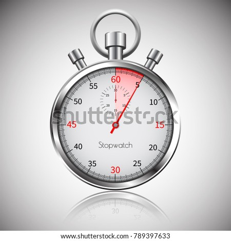 5 seconds. Silver realistic stopwatch with reflection. Vector.