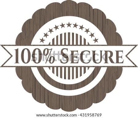 100% Secure wood emblem