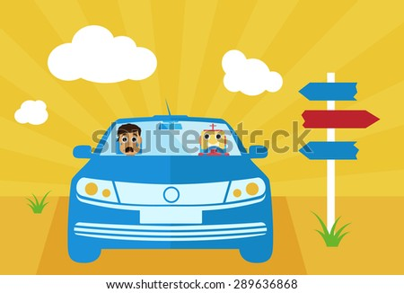 Self-driving car with scared human face vector illustration