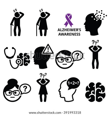 Seniors health - Alzheimer's disease and dementia, memory loss icons set  Stock fotó ©