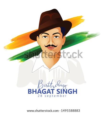 28 September- Bhagat Singh birth day. Indian freedom fighter illustration of Bhagat Singh