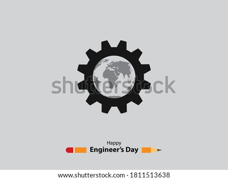 15 September Happy Engineer's day. pencil & engineer's tools. vector illustration