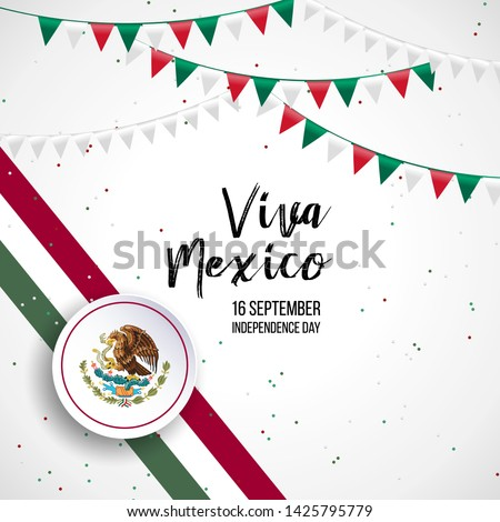 16 September, Mexico Happy Independence Day greeting card. Waving mexican flags and balloons isolated on white background. Patriotic Symbolic background Vector illustration. #1425795779