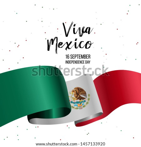 16 September, Mexico Happy Independence Day greeting card. Waving mexican flags and balloons isolated on white background. Patriotic Symbolic background Vector illustration. #1457133920