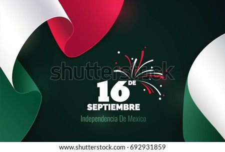 16 September. Mexico Happy Independence Day greeting card. Waving mexican flags isolated on green background. Patriotic Symbolic background  Vector illustration