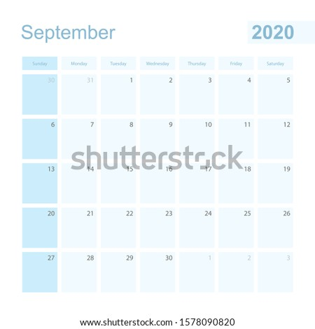2020 September wall planner in blue color, week starts on Sunday. Calendar for September 2020 with day of previous and next month.