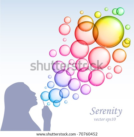 Serenity - vector eps10 illustration with a silhouette of a girl blowing rainbow soap bubbles