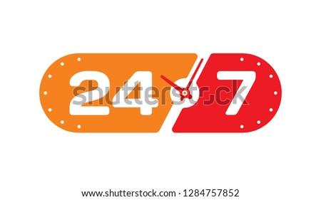 24-7 service concept. 24-7 open concept vector