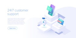 24/7 service concept or call center in isometric vector illustration. 24-7 round the clock or nonstop customer support background. Mobile self-service layout template for web banner.