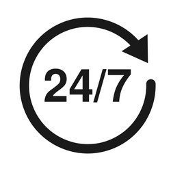 24/7 Service open 24h hours a day and 7 days a week. Flat isolated vector illustration in black on a white background.