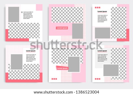 6 Set editable modern minimal square banner templates. Pink, red and white background color with stripe line shape. Suitable for social media post and web / internet ads sale promotion #1386523004