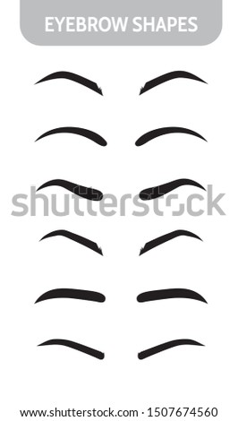Set eyebrow shapes. Various types of eyebrows. Trimming. Vector illustration with different thickness of brows.