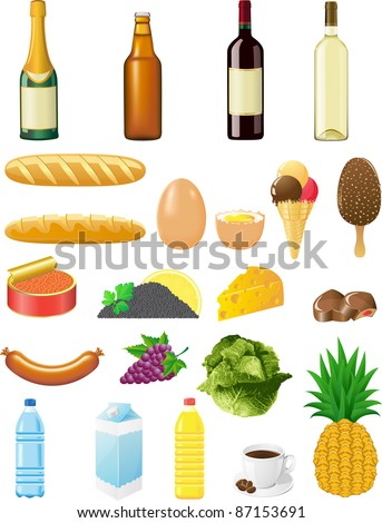 set icons of foods vector illustration isolated on white background
