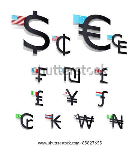 set International currency symbols and flags