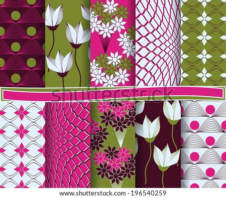 set of  abstract  floral vector paper for scrapbook  #196540259