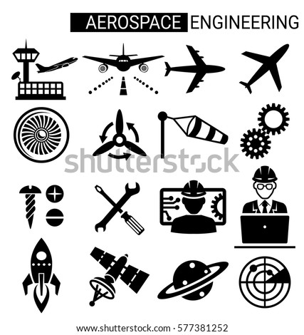 Set of aerospace engineering icon design for airplane and aviation