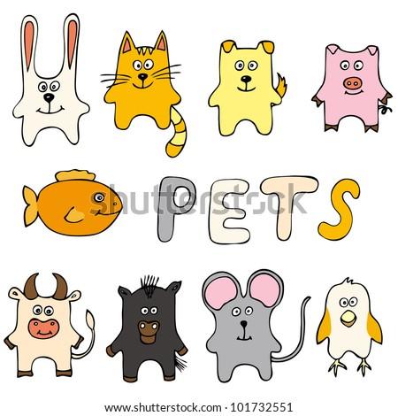 Set of animals including cat, dog, bird, pig, mouse, cow, horse, fish, rabbit