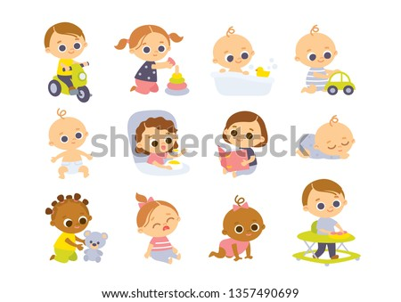 Set of baby  characters. Babies playing with toys.