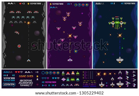 Set of 8 bit pixel game elements of Ufo invaders, space ships, rockets, funny monsters, aliens and gameplay. Vector Retro pixelated 8 bit arcade computer game template vector illustration