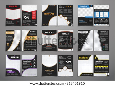 set of black flyers with different geometric elements and colors. Templates two pages brochure, A4 with space for photos and information. Vector illustration. #562401910