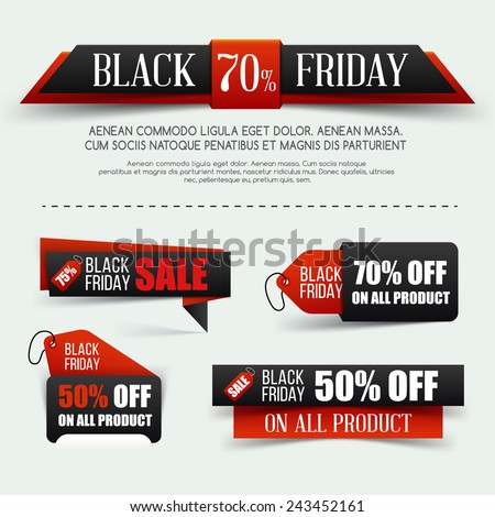 Set of Black friday sale. Vector illustration. Black paper banner. Grouped for easy editing.