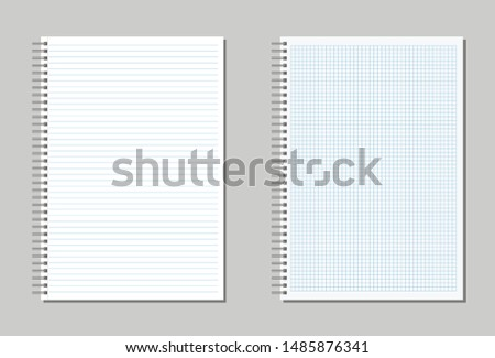 Set of blank spiral notepad notebook with lines and cell . School  notepad notebook in flat design Isolated. Vector illustration.