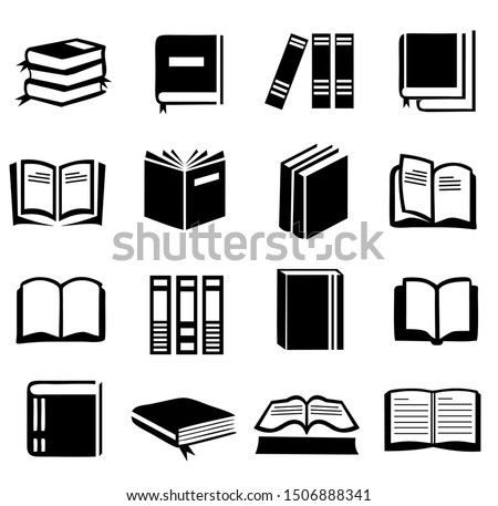 16 set of Book icon vector, symbol book design collection, on white background