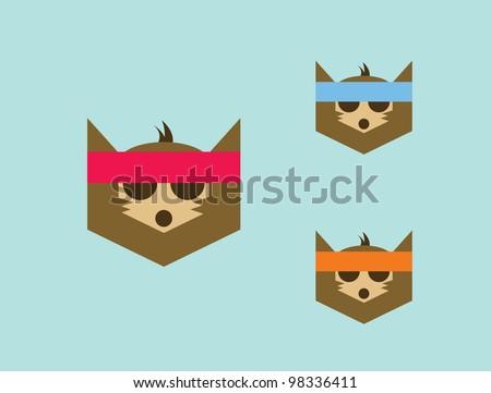 3 Set of Cartoon Fox with Headband.