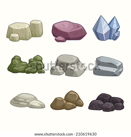 set of cartoon vector stones