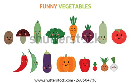 set of cartoon vegetables