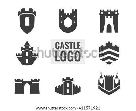 set of castle  fortress vector