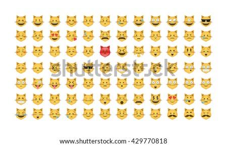 Set of cat emoticon vector. Emoji vector. Smile icon set.  Emoticon icon web - stock vector.