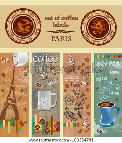 set of coffee labels, banners. Paris