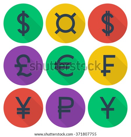 Set Of Colored Flat Icons With Different Currency Symbols Ez Canvas