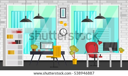 Shutterstock   Set of colorful interior with office furniture. Icons of office furniture and workplace: table, chair, computer, flower, bulb. In modern orthogonal design. Vector illustration.
