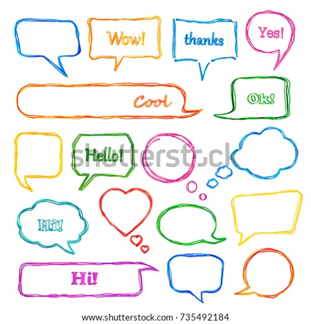 Set of colorful scribbled comic speech bubbles with hand drawn doodle style. Vector talk and thought sketch bubbles.
