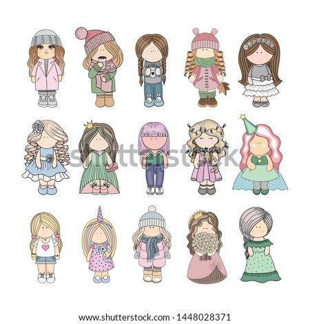 set of 15 cute baby girls