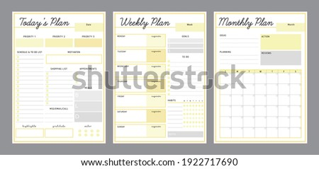 3 Set of Daily Weekly Monthly planner printable template Vector (Fresh Lemon). Easy to plan your day. Blank printable vertical notebook page. Business organizer.