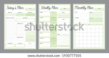 3 Set of Daily Weekly Monthly planner printable template Vector (Green tea). Easy to plan your day. Blank printable vertical notebook page. Business organizer.